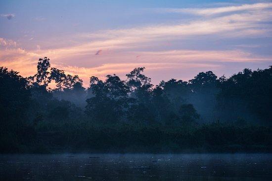 Kinabatangan District, Malaysia: Dusk on the river