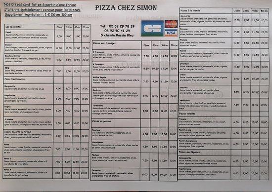 Sainte-Anne, Đảo Reunion: Carte des pizzas
