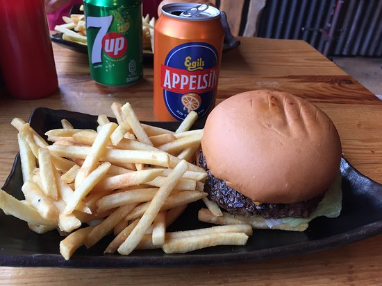 Dirty Burger & Ribs - Austurstraeti: Burger and Fries and Appelsin