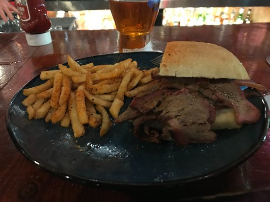 Steamworks Brewing Co: French Dip with Cajun Spiced Fries