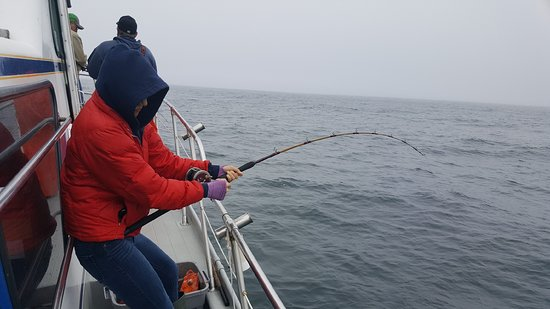 Dockside Charters: She is hooked up to a nice ling cod.