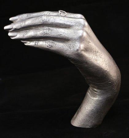 Lytchett Matravers, UK: Memorial keepsake - solid silver hand