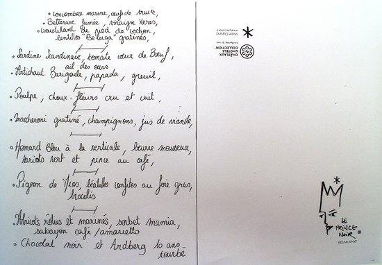 Lormont, France: Il menu scritto a mano per noi...
