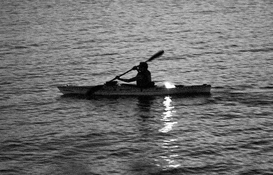 Tappan Zee Bridge: Canoe at night at Hudson river