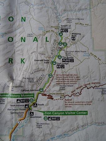 Map du Parc de Zion - Picture of Observation Point, Zion National ...