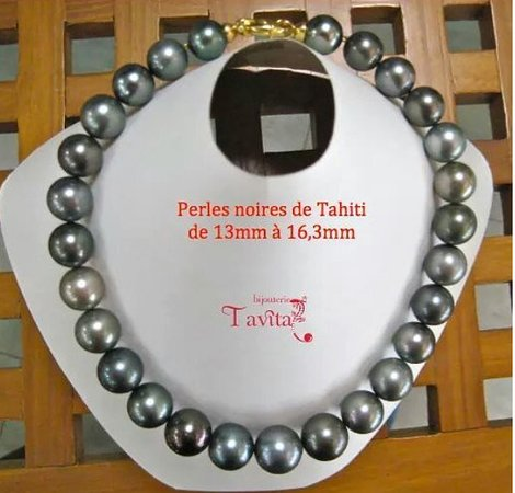 prix incroyable vente en magasin tout à fait stylé NECKLACE TAHITIAN BLACK PEARLS BIG SIZES + CLASP IN YG18K ...