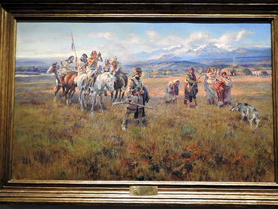 C.M. Russell Museum: Captain Lewis watching Sacajawea's meeting with her kin