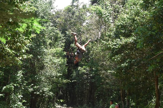 Cancun ATV Tours: Up and down zipline, you want to try it?