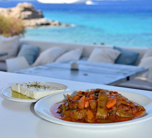 Fresh Green Beans In Tomato Sauce With Virgin Olive Oil And A Slice Of Greek Feta Cheese Picture Of Compass Tourlos Tripadvisor