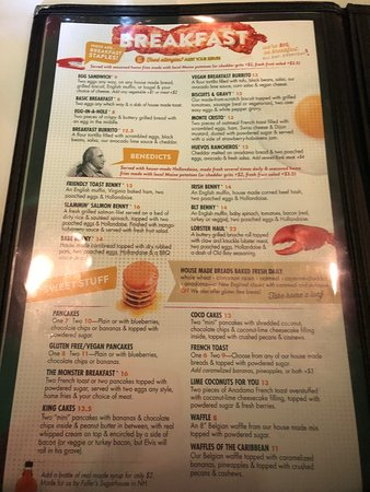 The Friendly Toast: menu