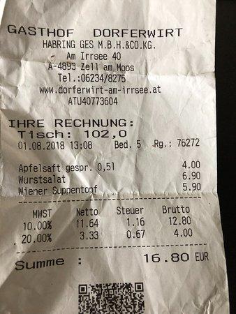 Zell am Moos, النمسا: Rechnung