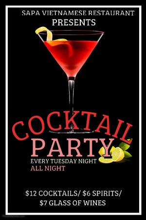 Just $12 Cocktails | $6 Spirits| $7 Glass of Wines on Tuesday Night