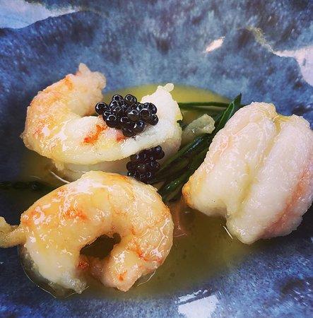 Little Bedwyn, UK: Langoustines, Exmoor Caviar