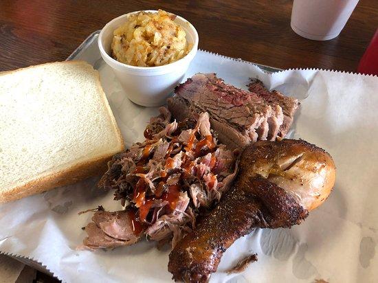 Skiatook, OK: Pulled pork, moist sliced brisket, smoked chicken leg, and campfire potatoes