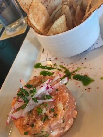 Salmon Tartar with Plantain chips. WOW