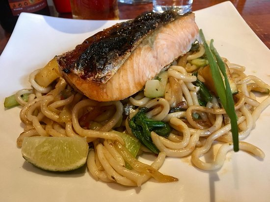 The Pepperstack: Teriyaki Salmon with Udon noodles