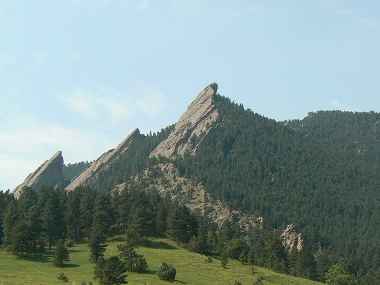 View of the Flat Irons going up Flagstaff Mountain Road