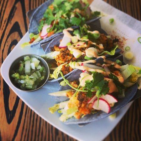 Caffe Machiatto: Blackened Cod Fish Tacos with smoked corn tortillas, pico de Gallo, shaved radishes, chipotle cr