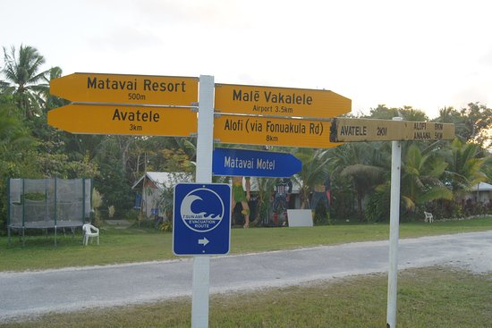 Tsunami warning signs at the intersection in TMK (Tamakautoga)