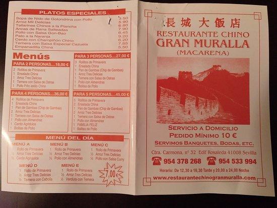 Carta Picture Of Restaurante Chino Gran Muralla Seville Tripadvisor