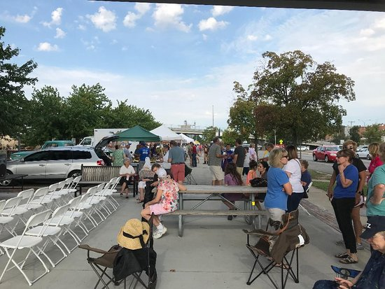 Atchison Farmers Market: Getting ready for the cooking demo.