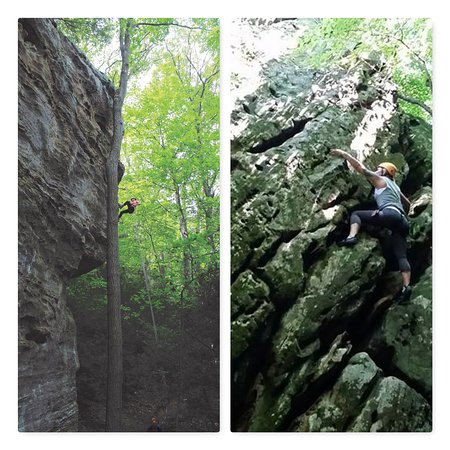 Rockbridge, OH: Rappelling and Climbing, two of several tours you do at High Rock Adventures/Hocking Hills Ecoto