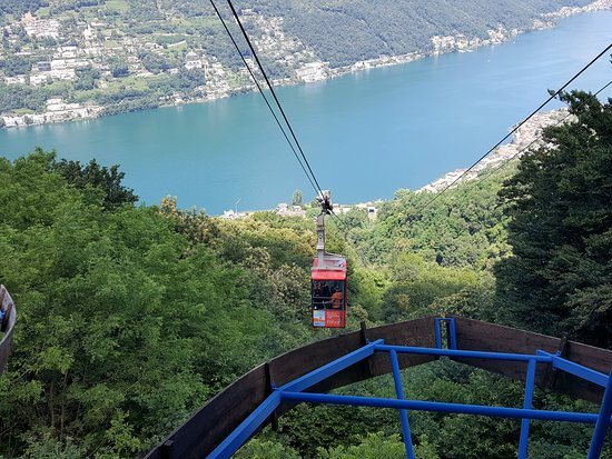 Mid-way up the Brusino-Serpiano funivia with view of Lake Lugano