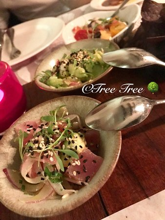‪‪Tango Argentinian Steakhouse‬: Tasting of Three - Ceviche of octopus, shrimp & scallop, tuna‬