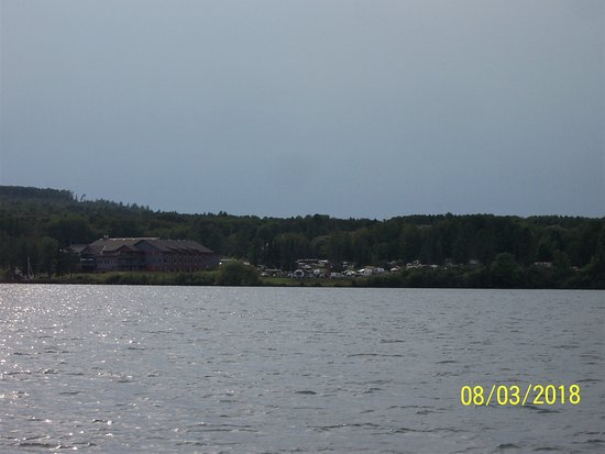 Red Cliff, WI: Casino Campground from a boat on Lake Superior