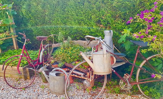 ‪‪Gauriac‬, فرنسا: Antique bikes by the flower and vegetable garden‬