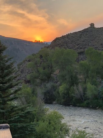 Beautiful sunset on the river  view from cabin