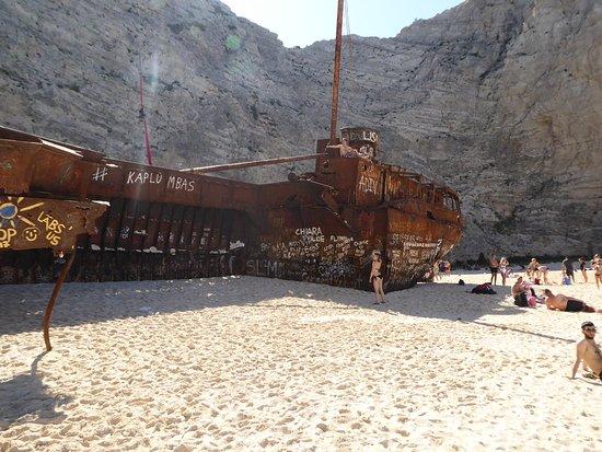 Navagio Beach: What remains of the Panagiotis