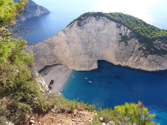 Navagio Beach: Looking down on the cove and the wreck