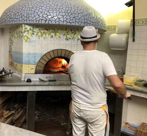 Wood fired pizza oven.