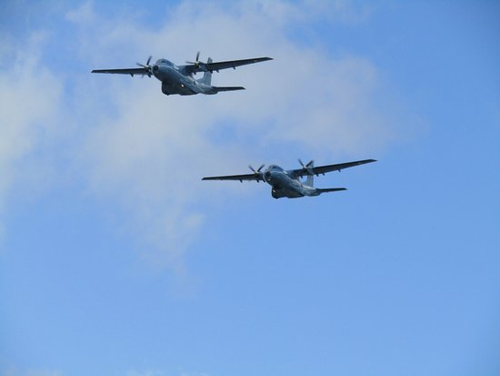 Two marine rescue planes flying over the museum during Foynes airshow