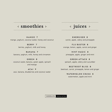 Goodlife Cafe: Smoothies and Juices