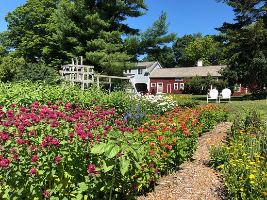 Walpole, NH: A look from the garden to the main house and cottages.