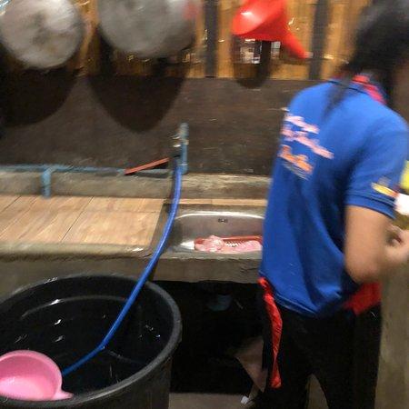Railay Thai Cuisine: Une vie terrible des cuisine un congélateur qui sert de garde manger avec les moisissures qui vo