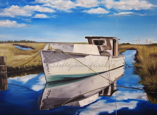 "มอร์เฮดซิตี, นอร์ทแคโรไลนา: ""Resting Reflection"" 1st place winner in Carolina Artist's Gallery 'It's a Shore Thing' show"
