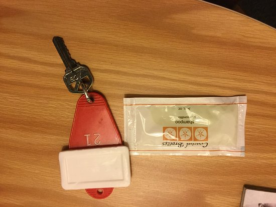 Cumberland, WI: Here is our room key, a bar of soap and the shampoo they offer.
