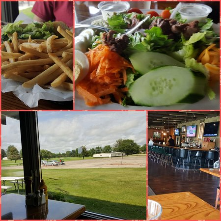 Edgerton, WI: Tasty steak salad or sandwich enjoyed with a golf cource view