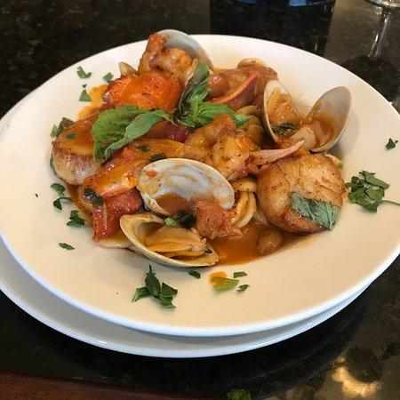 Mineola, NY: Orecchiete pasta with clams, scallops, shrimp and lobster.