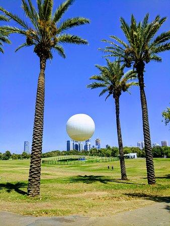 Yarkon River and Park Hayarkon: The Hot Air Balloon, with the Tel Aviv skyline in the background