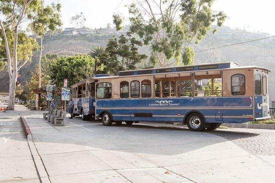Laguna Beach Trolley: Trolleys at the Bust Depot on Broadway