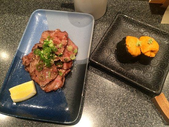 Hana Japanese Restaurant: Beef tongue and uni nigiri