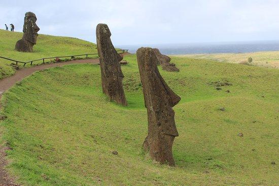 Rapa Nui National Park: Part of the spectacular Rano Raraku site,where the Moai were mined and created.