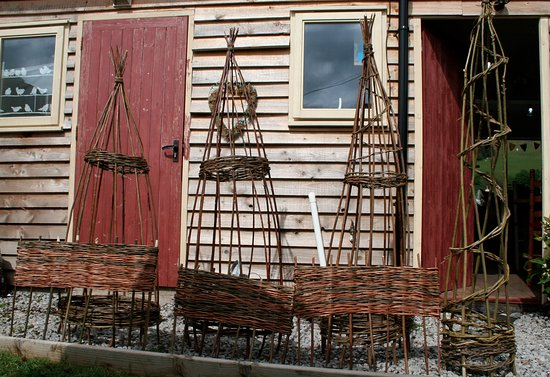 Cumbria, UK: The proud results of a willow weaving workshop.