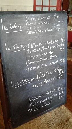 la trinquette het menu zeer goed van prijs
