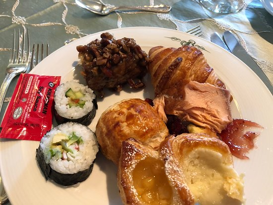Lake Terrace Dining Room: Plate #1. Sushi, salmon, croissants, danishes, sticky buns.