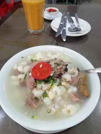 La Oroya, بيرو: Una buena patasca muy rico algo bueno para el desayuno.